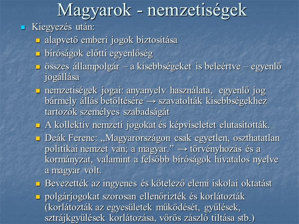 Magyarok - nemzetiségek Kiegyezés után: Kiegyezés után: alapvető emberi jogok biztosítása alapvető emberi jogok biztosítása bíróságok előtti egyenlősé