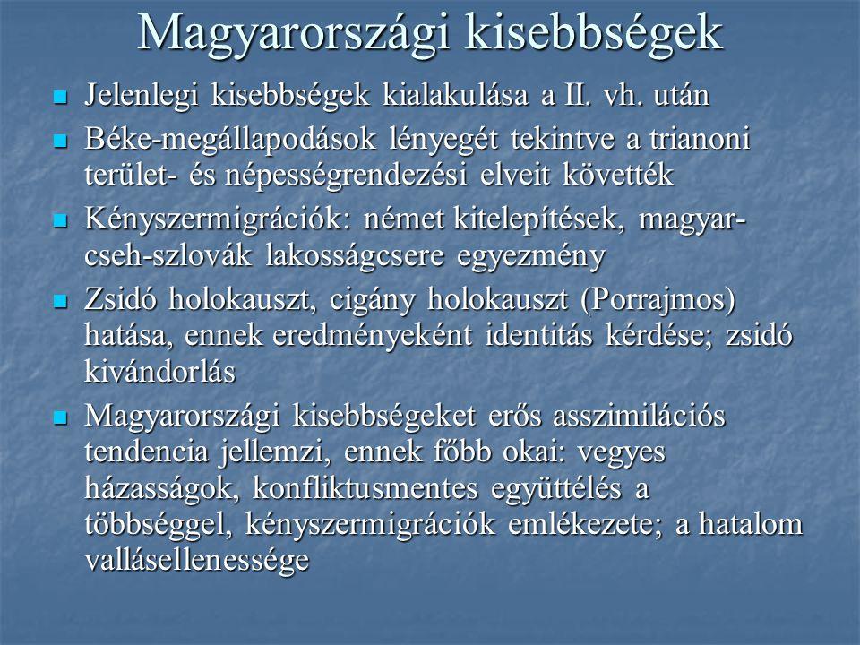 Magyarországi kisebbségek Jelenlegi kisebbségek kialakulása a II. vh. után Jelenlegi kisebbségek kialakulása a II. vh. után Béke-megállapodások lényeg