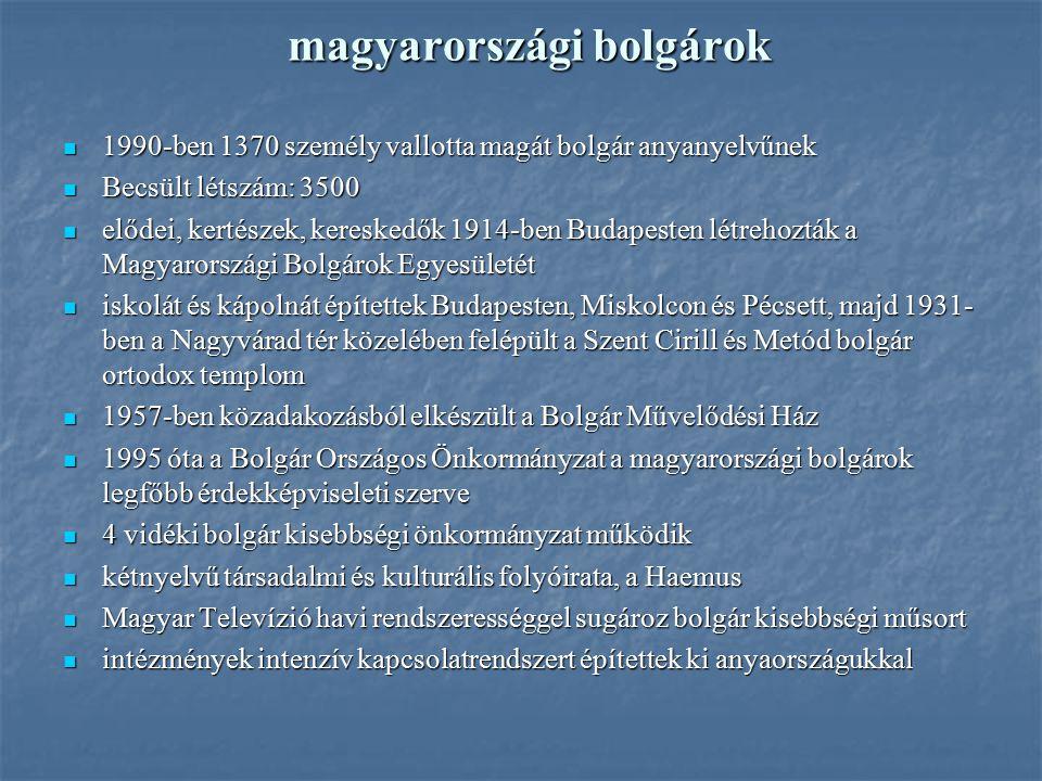 magyarországi bolgárok 1990-ben 1370 személy vallotta magát bolgár anyanyelvűnek 1990-ben 1370 személy vallotta magát bolgár anyanyelvűnek Becsült lét