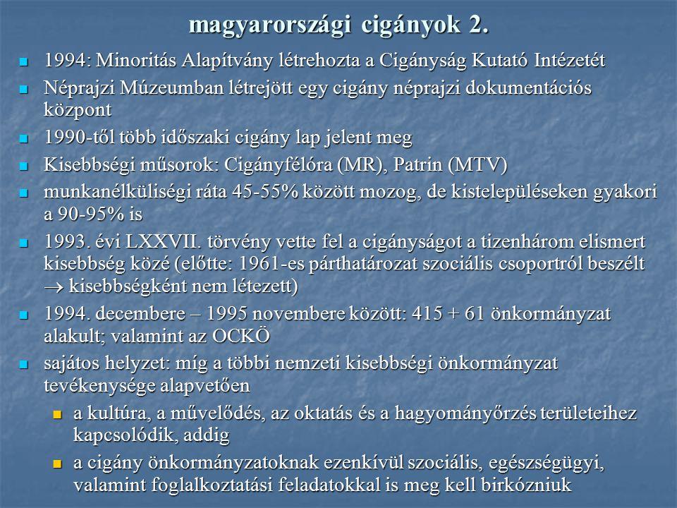 magyarországi cigányok 2. 1994: Minoritás Alapítvány létrehozta a Cigányság Kutató Intézetét 1994: Minoritás Alapítvány létrehozta a Cigányság Kutató