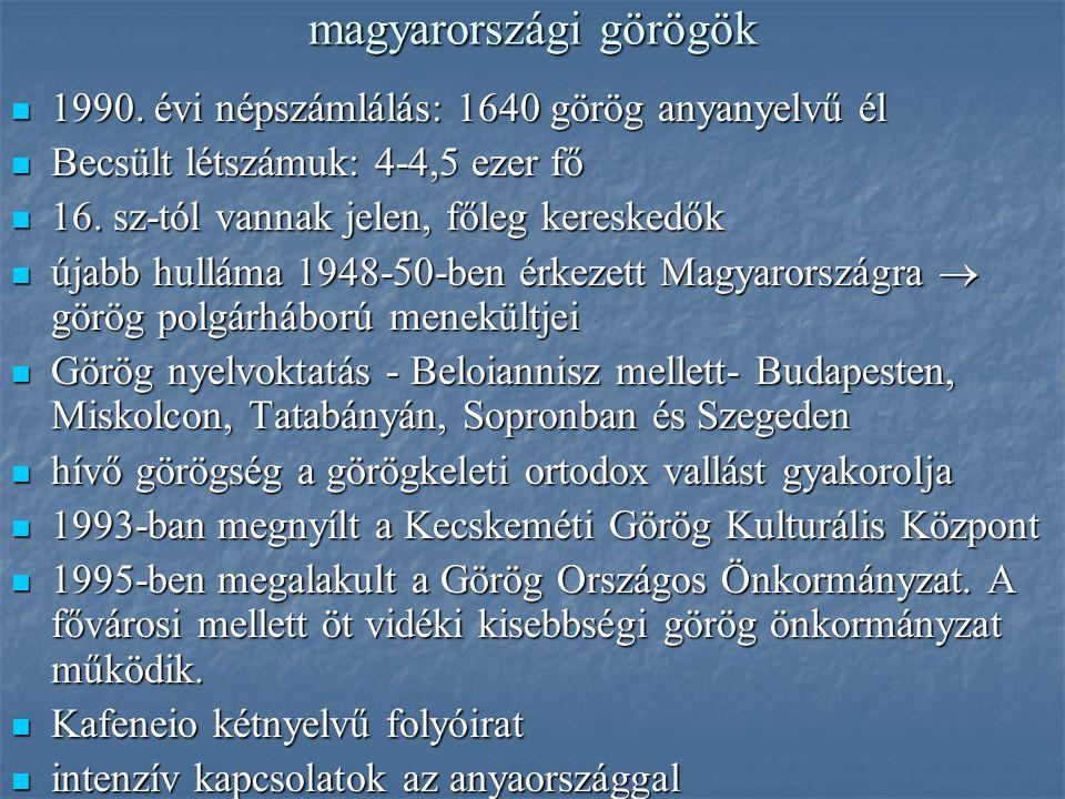 magyarországi görögök 1990. évi népszámlálás: 1640 görög anyanyelvű él 1990. évi népszámlálás: 1640 görög anyanyelvű él Becsült létszámuk: 4-4,5 ezer
