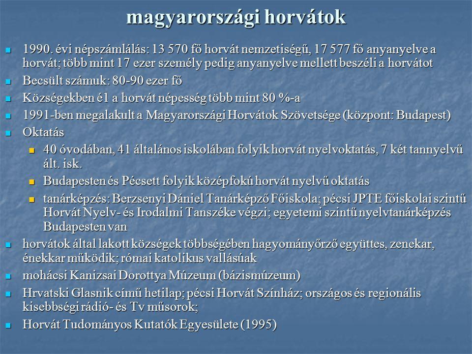 magyarországi horvátok 1990. évi népszámlálás: 13 570 fő horvát nemzetiségű, 17 577 fő anyanyelve a horvát; több mint 17 ezer személy pedig anyanyelve