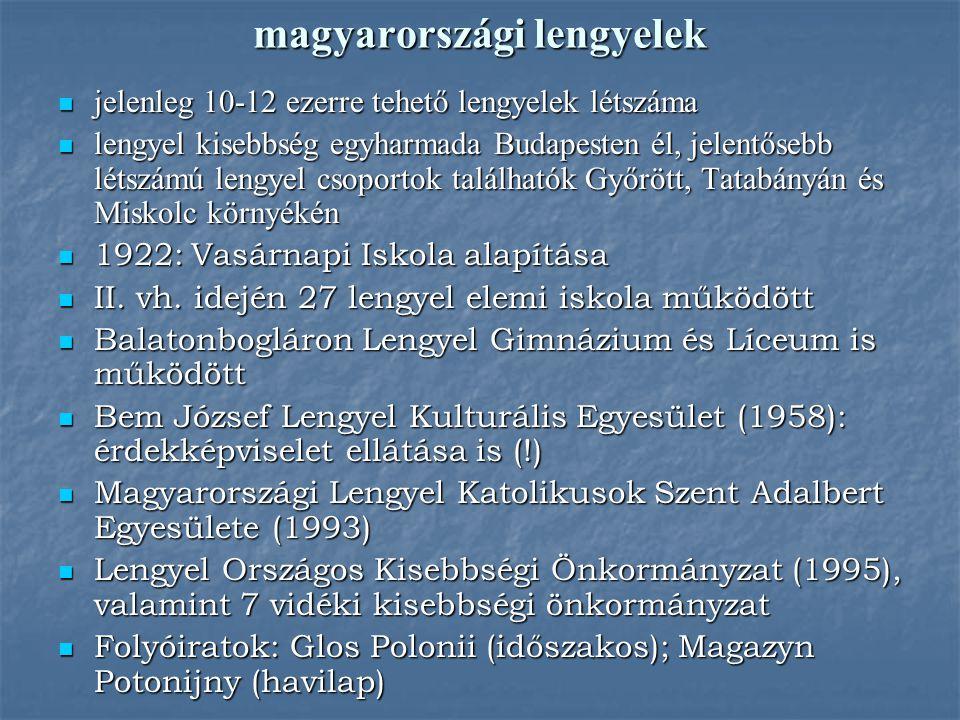 magyarországi lengyelek jelenleg 10-12 ezerre tehető lengyelek létszáma jelenleg 10-12 ezerre tehető lengyelek létszáma lengyel kisebbség egyharmada B
