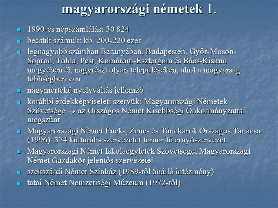 magyarországi németek 1. 1990-es népszámlálás: 30 824 1990-es népszámlálás: 30 824 becsült számuk: kb. 200-220 ezer becsült számuk: kb. 200-220 ezer l