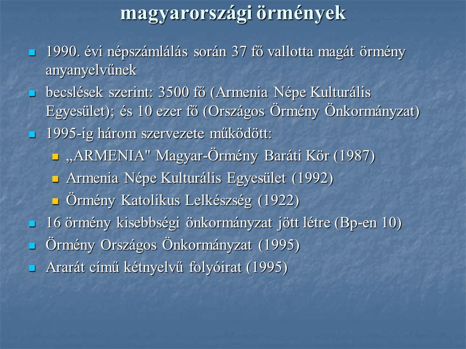 magyarországi örmények 1990. évi népszámlálás során 37 fő vallotta magát örmény anyanyelvűnek 1990. évi népszámlálás során 37 fő vallotta magát örmény