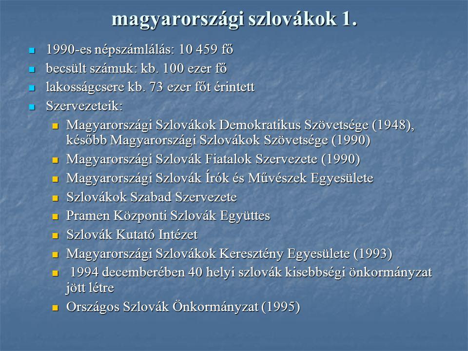magyarországi szlovákok 1. 1990-es népszámlálás: 10 459 fő 1990-es népszámlálás: 10 459 fő becsült számuk: kb. 100 ezer fő becsült számuk: kb. 100 eze