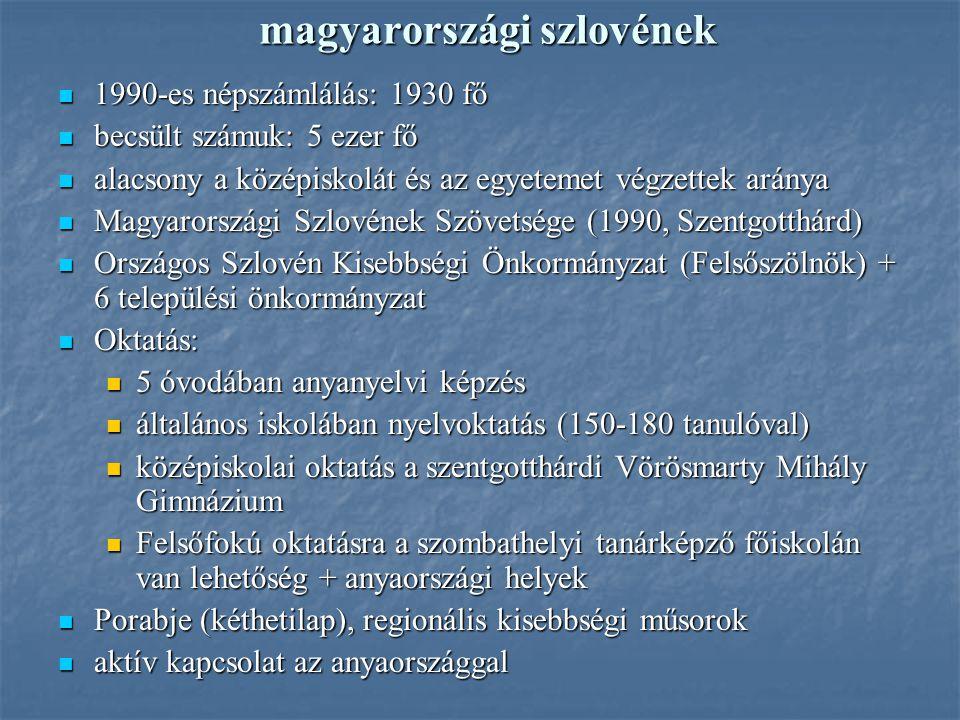 magyarországi szlovének 1990-es népszámlálás: 1930 fő 1990-es népszámlálás: 1930 fő becsült számuk: 5 ezer fő becsült számuk: 5 ezer fő alacsony a köz