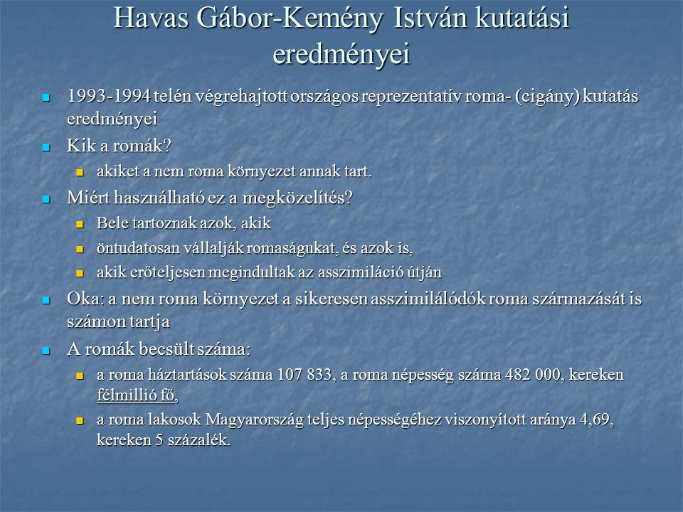 Havas Gábor-Kemény István kutatási eredményei 1993-1994 telén végrehajtott országos reprezentatív roma- (cigány) kutatás eredményei 1993-1994 telén vé