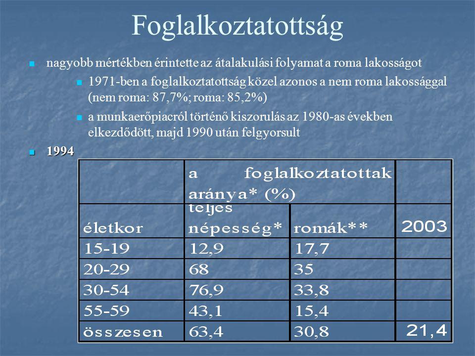 Foglalkoztatottság nagyobb mértékben érintette az átalakulási folyamat a roma lakosságot 1971-ben a foglalkoztatottság közel azonos a nem roma lakossá