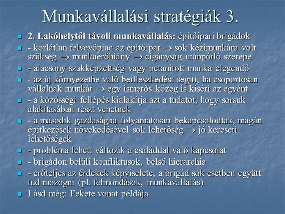 Munkavállalási stratégiák 3. 2. Lakóhelytől távoli munkavállalás: építőipari brigádok 2. Lakóhelytől távoli munkavállalás: építőipari brigádok - korlá