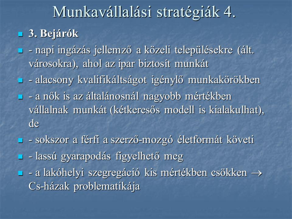 Munkavállalási stratégiák 4. 3. Bejárók 3. Bejárók - napi ingázás jellemző a közeli településekre (ált. városokra), ahol az ipar biztosít munkát - nap