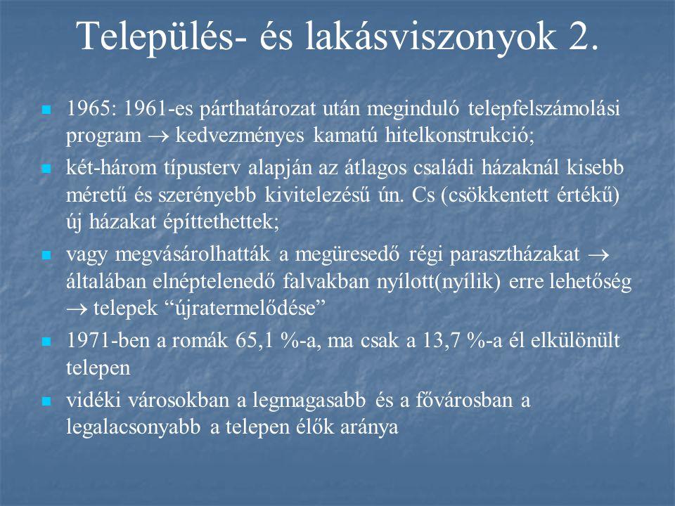 Település- és lakásviszonyok 2. 1965: 1961-es párthatározat után meginduló telepfelszámolási program  kedvezményes kamatú hitelkonstrukció; két-három