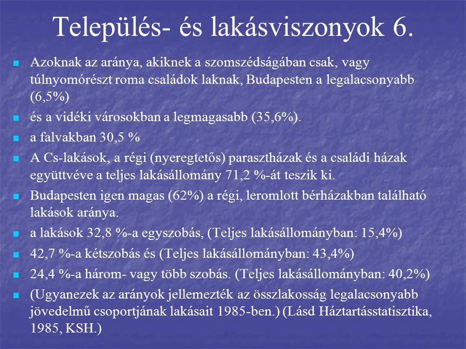 Település- és lakásviszonyok 6. Azoknak az aránya, akiknek a szomszédságában csak, vagy túlnyomórészt roma családok laknak, Budapesten a legalacsonyab