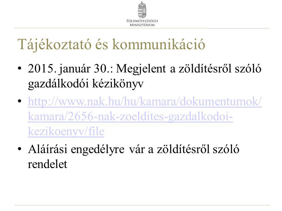 Tájékoztató és kommunikáció 2015. január 30.: Megjelent a zöldítésről szóló gazdálkodói kézikönyv http://www.nak.hu/hu/kamara/dokumentumok/ kamara/265