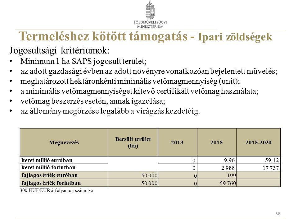 Termeléshez kötött támogatás - Ipari zöldségek Jogosultsági kritériumok: Minimum 1 ha SAPS jogosult terület; az adott gazdasági évben az adott növényr