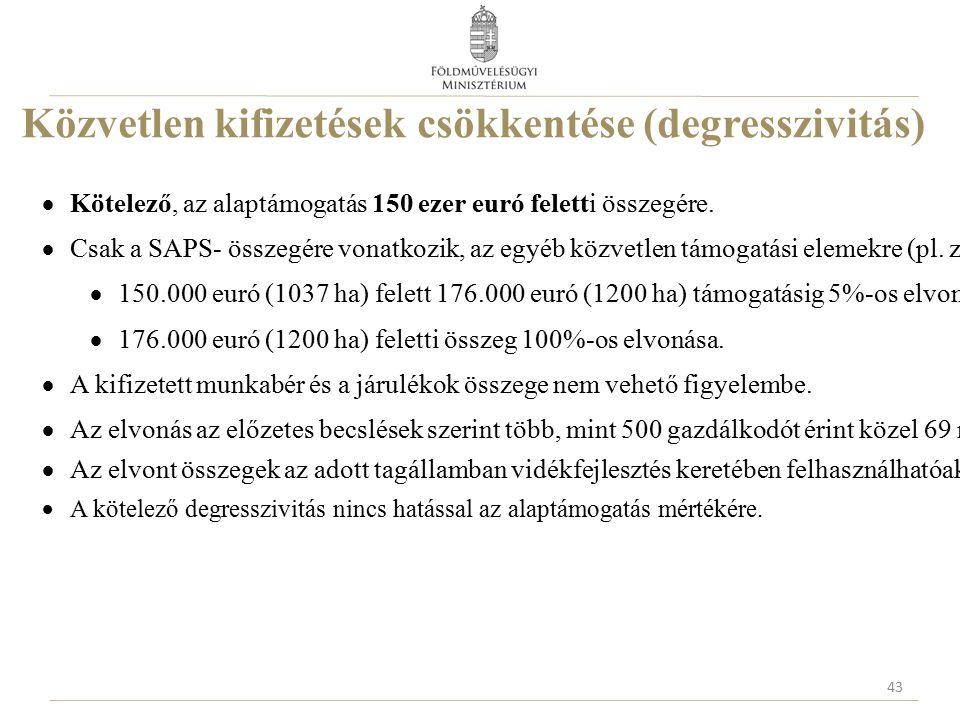 Közvetlen kifizetések csökkentése (degresszivitás)  Kötelező, az alaptámogatás 150 ezer euró feletti összegére.  Csak a SAPS- összegére vonatkozik,