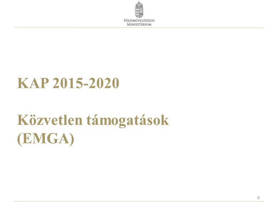 Termeléshez kötött támogatás  Önkéntes, legfeljebb az éves pénzügyi keret  13%-a (évente közel ~175 millió euró, ~52,5 mrd Ft - 300 HUF/EUR árfolyamon)  Anyatehén  Hízott bika  Tejhasznú tehén  Juh  Cukorrépa  Rizs  Gyümölcs  Zöldség  plusz 2% (évente közel ~27 millió euró, ~8,1 mrd Ft - 300 HUF/EUR árfolyamon)  fehérjenövények támogatására  Szemes fehérjenövények  Szálas fehérjenövények 27