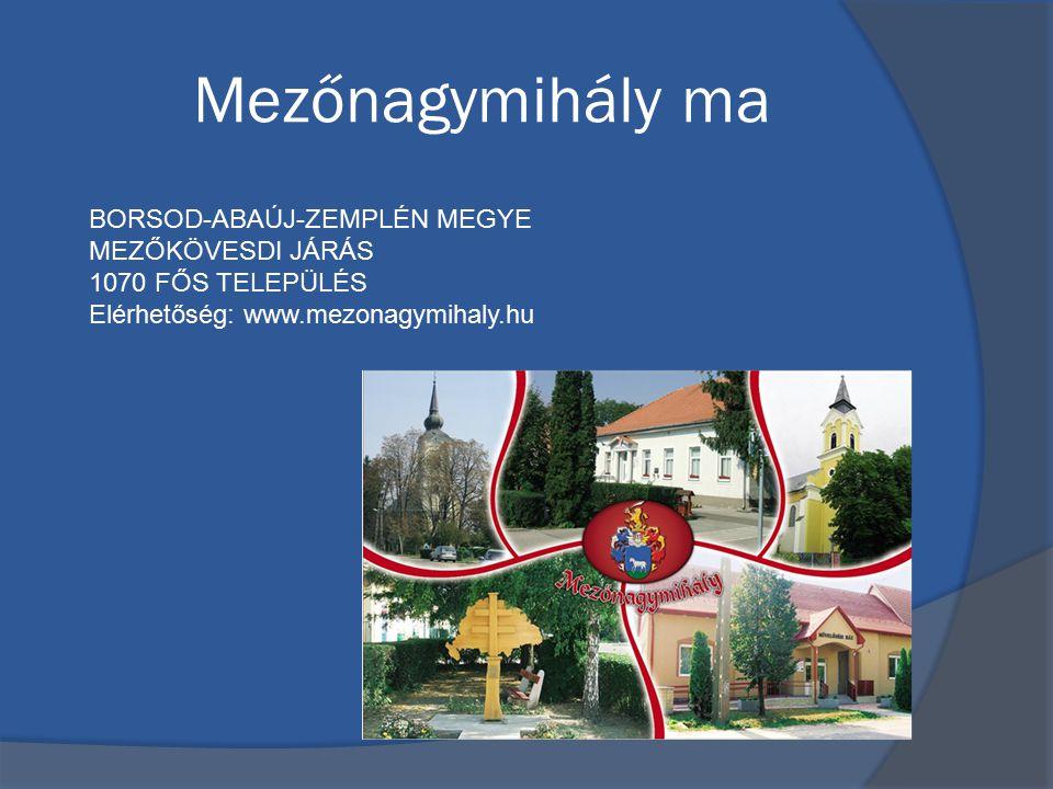 Mezőnagymihály ma BORSOD-ABAÚJ-ZEMPLÉN MEGYE MEZŐKÖVESDI JÁRÁS 1070 FŐS TELEPÜLÉS Elérhetőség: www.mezonagymihaly.hu