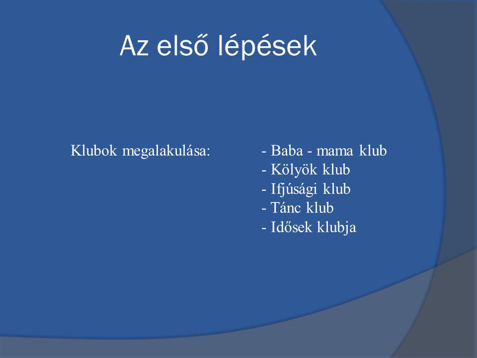 Az első lépések Klubok megalakulása: - Baba - mama klub - Kölyök klub - Ifjúsági klub - Tánc klub - Idősek klubja