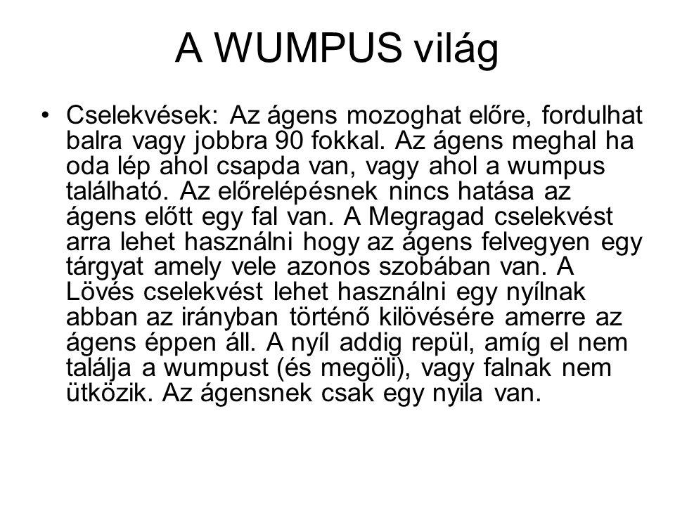 A WUMPUS világ Cselekvések: Az ágens mozoghat előre, fordulhat balra vagy jobbra 90 fokkal. Az ágens meghal ha oda lép ahol csapda van, vagy ahol a wu