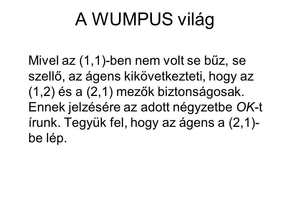 A WUMPUS világ Mivel az (1,1)-ben nem volt se bűz, se szellő, az ágens kikövetkezteti, hogy az (1,2) és a (2,1) mezők biztonságosak. Ennek jelzésére a