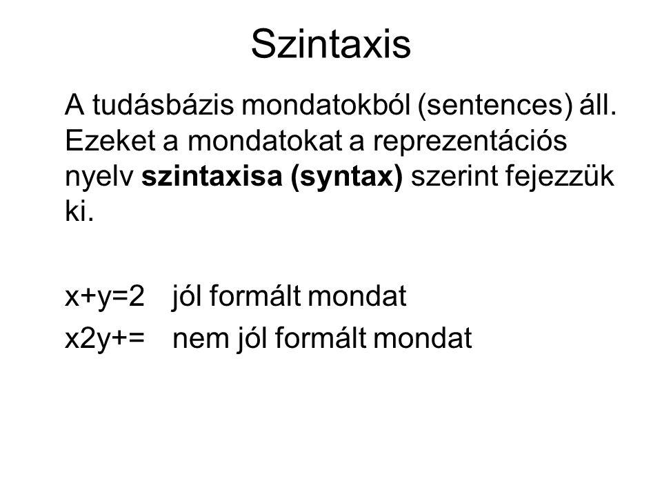 Szintaxis A tudásbázis mondatokból (sentences) áll. Ezeket a mondatokat a reprezentációs nyelv szintaxisa (syntax) szerint fejezzük ki. x+y=2 jól form
