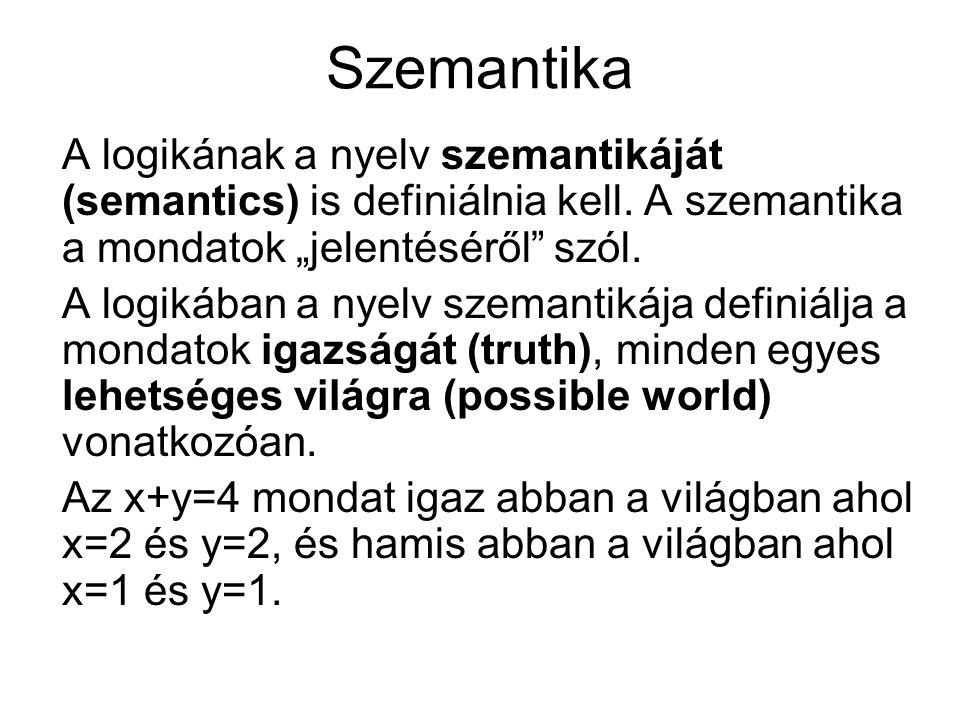 """Szemantika A logikának a nyelv szemantikáját (semantics) is definiálnia kell. A szemantika a mondatok """"jelentéséről"""" szól. A logikában a nyelv szemant"""