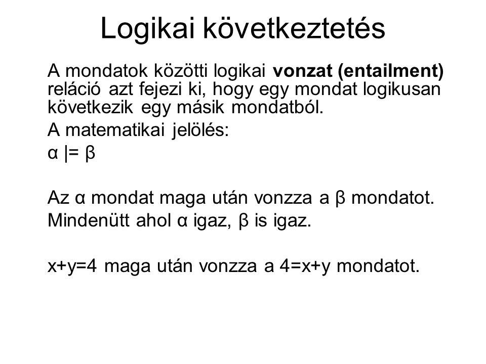 Logikai következtetés A mondatok közötti logikai vonzat (entailment) reláció azt fejezi ki, hogy egy mondat logikusan következik egy másik mondatból.