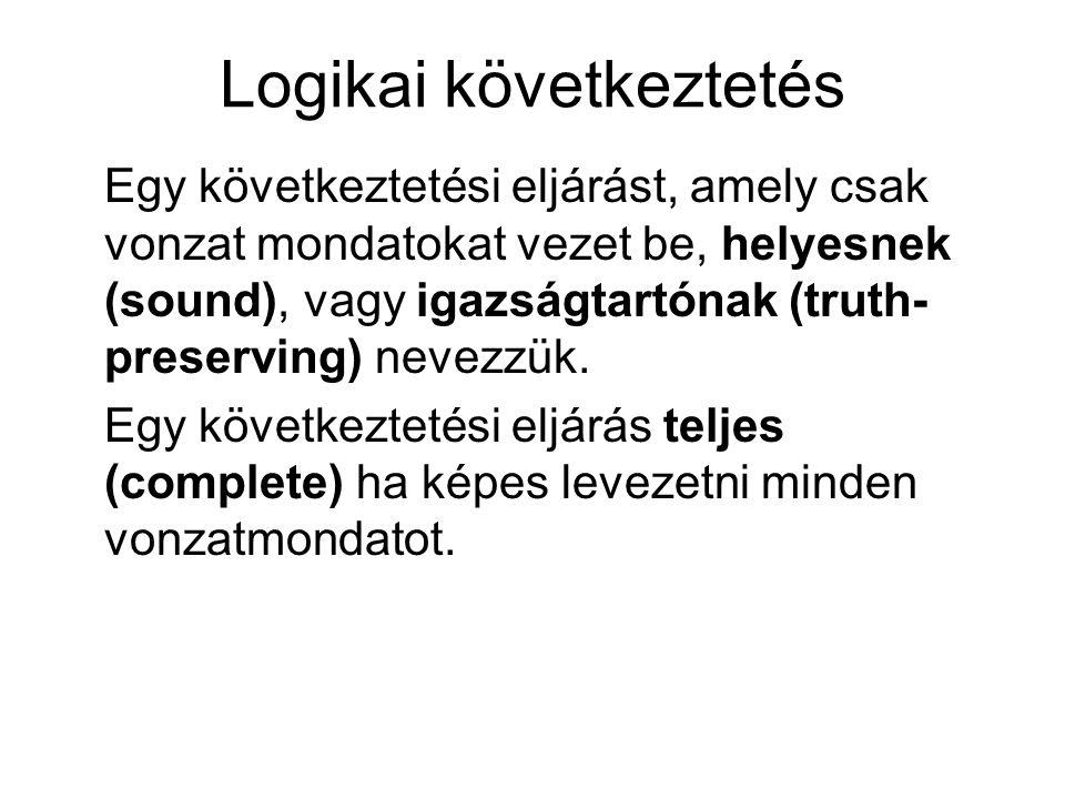 Logikai következtetés Egy következtetési eljárást, amely csak vonzat mondatokat vezet be, helyesnek (sound), vagy igazságtartónak (truth- preserving) nevezzük.