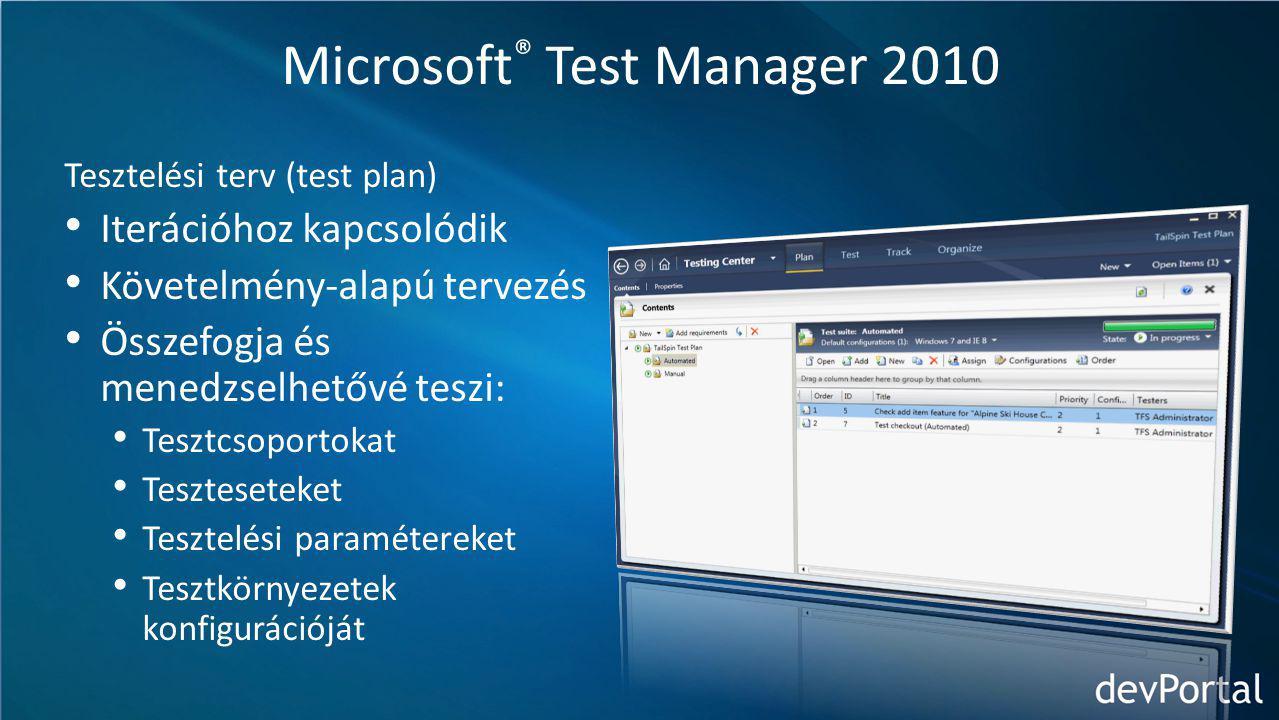 Microsoft ® Test Manager 2010 Tesztelési terv (test plan) Iterációhoz kapcsolódik Követelmény-alapú tervezés Összefogja és menedzselhetővé teszi: Tesztcsoportokat Teszteseteket Tesztelési paramétereket Tesztkörnyezetek konfigurációját