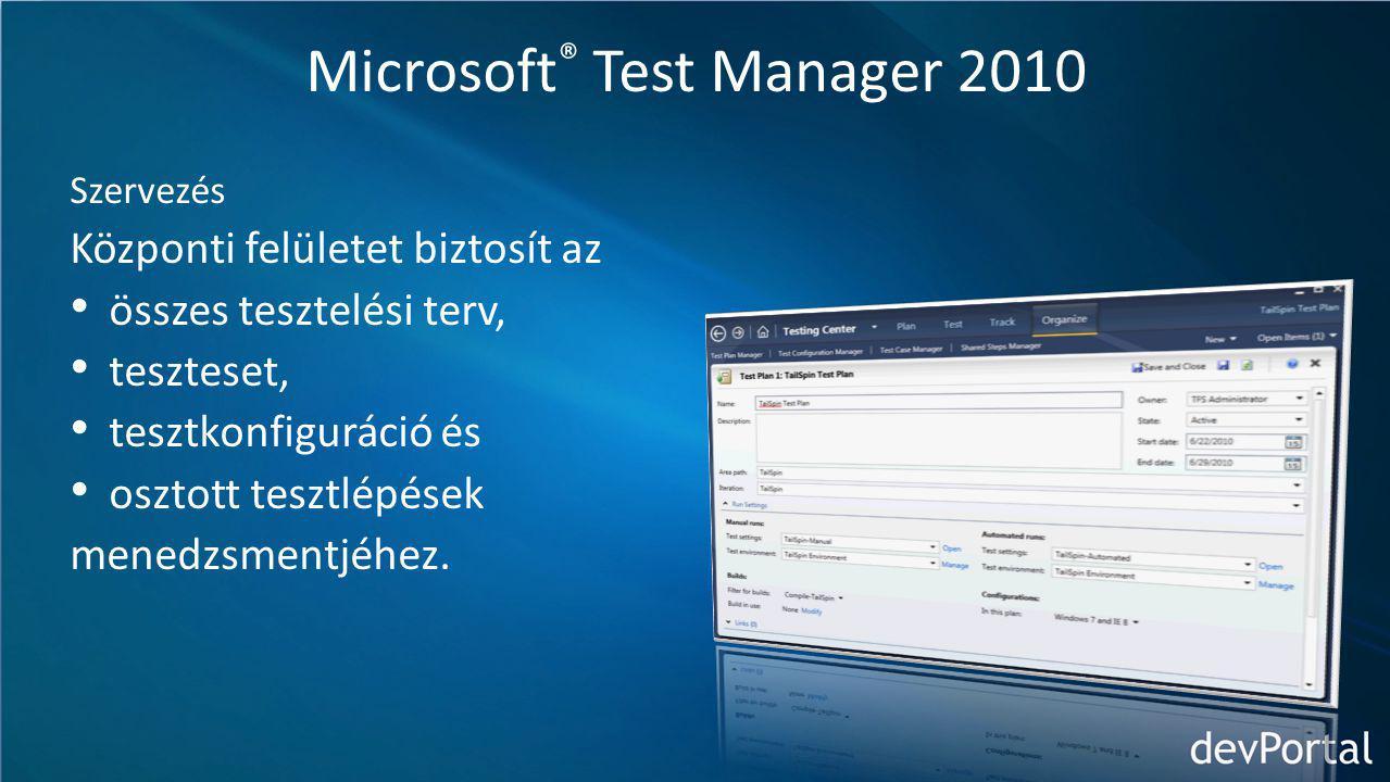 Microsoft ® Test Manager 2010 Szervezés Központi felületet biztosít az összes tesztelési terv, teszteset, tesztkonfiguráció és osztott tesztlépések menedzsmentjéhez.