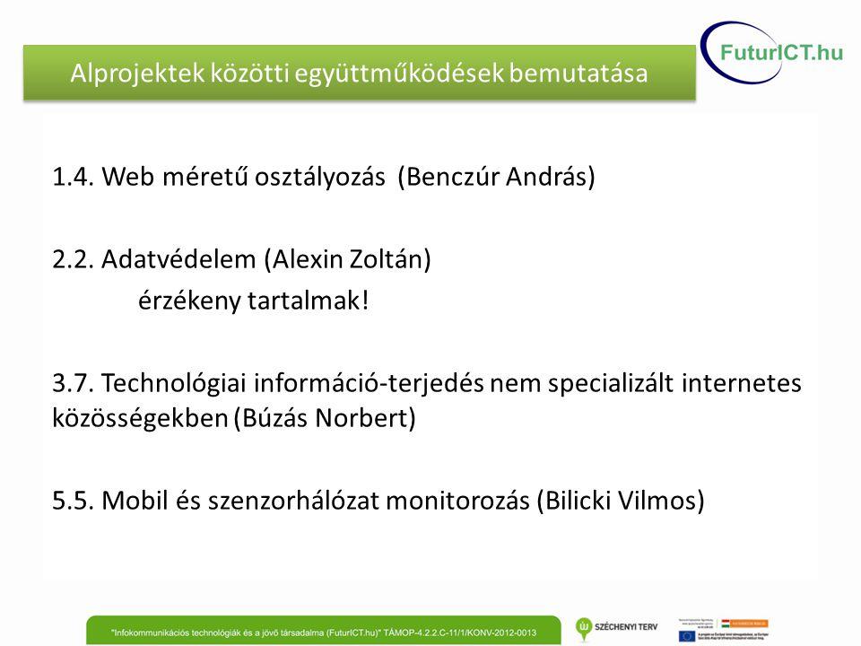 Alprojektek közötti együttműködések bemutatása 1.4. Web méretű osztályozás (Benczúr András) 2.2. Adatvédelem (Alexin Zoltán) érzékeny tartalmak! 3.7.