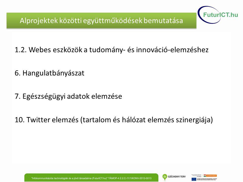Alprojektek közötti együttműködések bemutatása 1.2. Webes eszközök a tudomány- és innováció-elemzéshez 6. Hangulatbányászat 7. Egészségügyi adatok ele