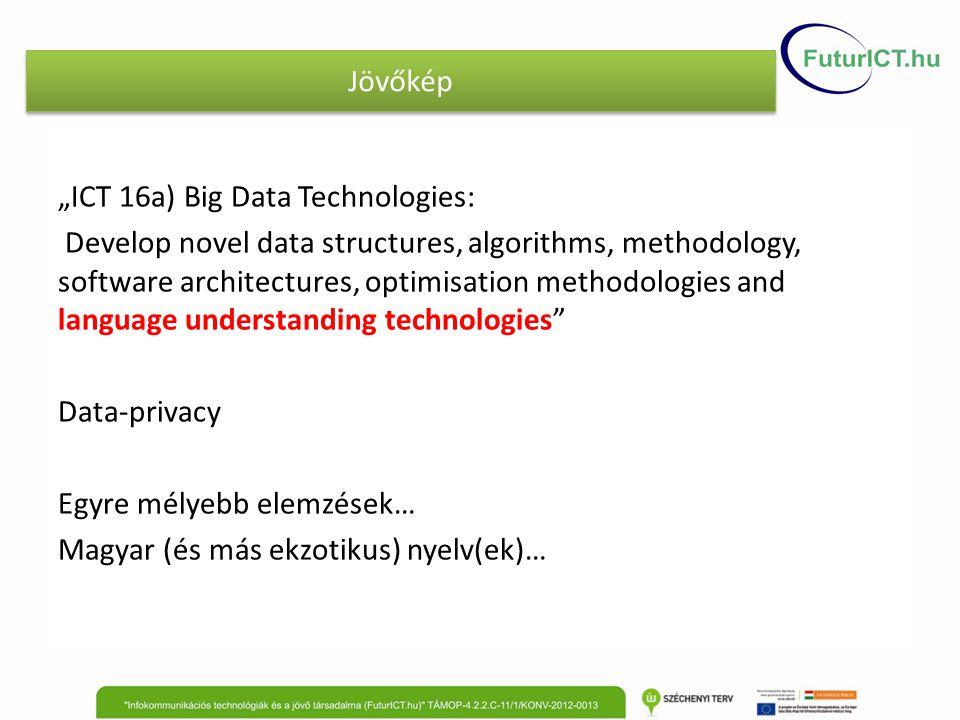 "Jövőkép ""ICT 16a) Big Data Technologies: Develop novel data structures, algorithms, methodology, software architectures, optimisation methodologies an"