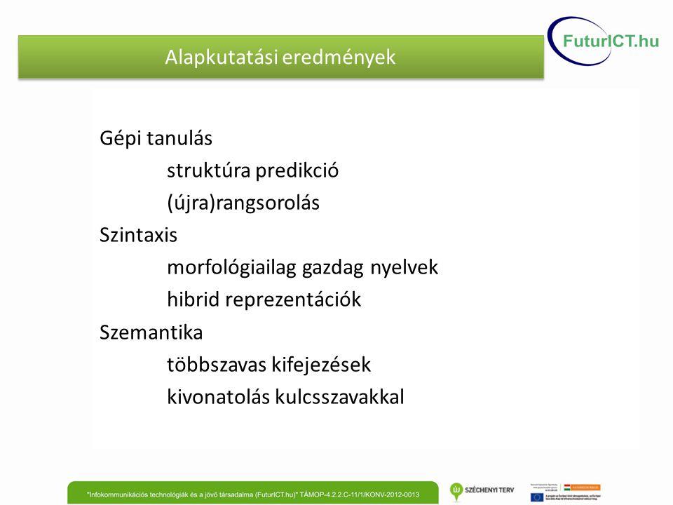 Alapkutatási eredmények Gépi tanulás struktúra predikció (újra)rangsorolás Szintaxis morfológiailag gazdag nyelvek hibrid reprezentációk Szemantika tö