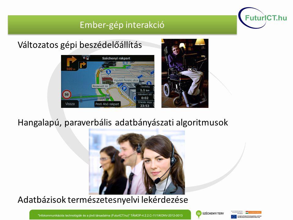 Ember-gép interakció Változatos gépi beszédelőállítás Hangalapú, paraverbális adatbányászati algoritmusok Adatbázisok természetesnyelvi lekérdezése