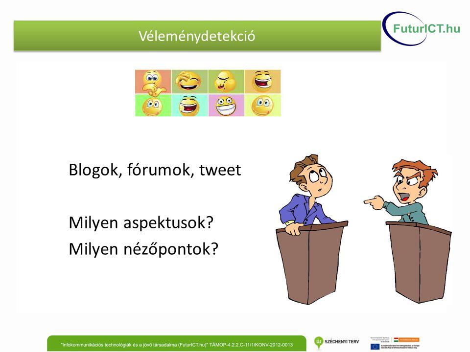 Blogok, fórumok, tweet Milyen aspektusok? Milyen nézőpontok? Véleménydetekció