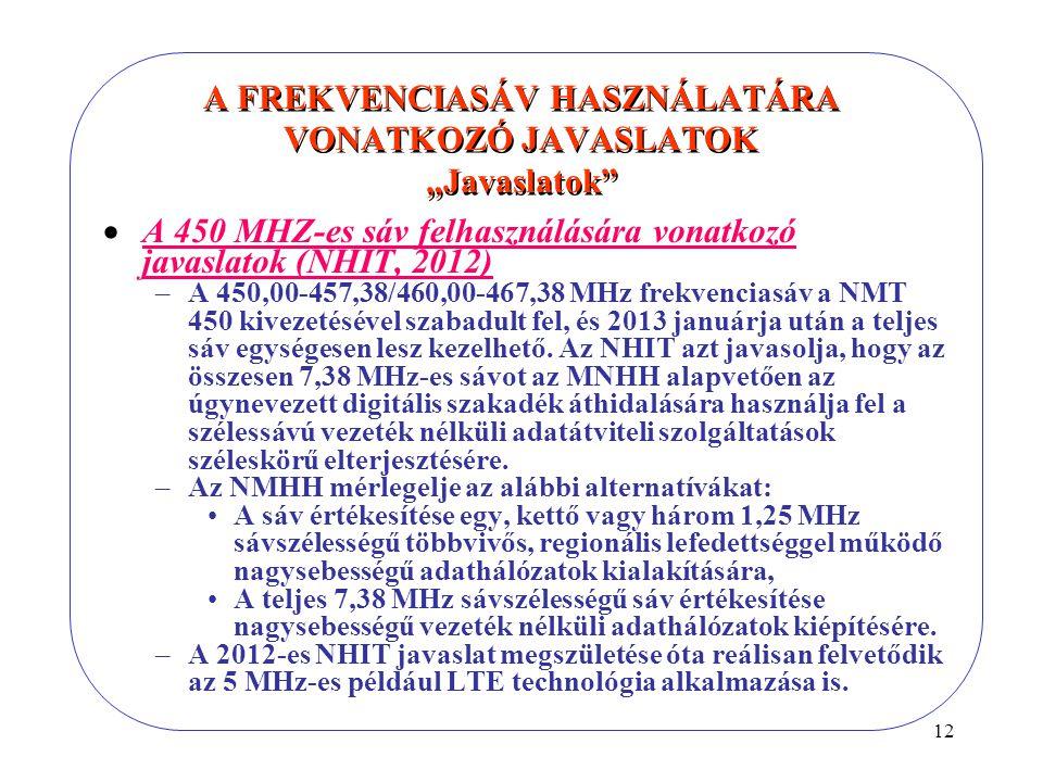 """12 A FREKVENCIASÁV HASZNÁLATÁRA VONATKOZÓ JAVASLATOK """"Javaslatok  A 450 MHZ-es sáv felhasználására vonatkozó javaslatok (NHIT, 2012) –A 450,00-457,38/460,00-467,38 MHz frekvenciasáv a NMT 450 kivezetésével szabadult fel, és 2013 januárja után a teljes sáv egységesen lesz kezelhető."""