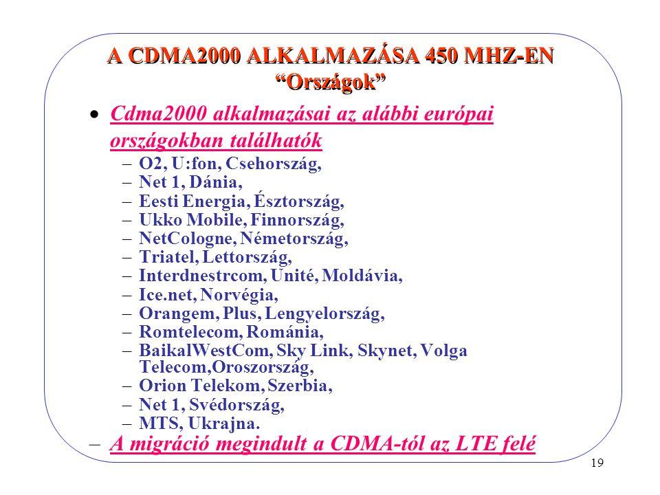 19 A CDMA2000 ALKALMAZÁSA 450 MHZ-EN Országok  Cdma2000 alkalmazásai az alábbi európai országokban találhatók –O2, U:fon, Csehország, –Net 1, Dánia, –Eesti Energia, Észtország, –Ukko Mobile, Finnország, –NetCologne, Németország, –Triatel, Lettország, –Interdnestrcom, Unité, Moldávia, –Ice.net, Norvégia, –Orangem, Plus, Lengyelország, –Romtelecom, Románia, –BaikalWestCom, Sky Link, Skynet, Volga Telecom,Oroszország, –Orion Telekom, Szerbia, –Net 1, Svédország, –MTS, Ukrajna.