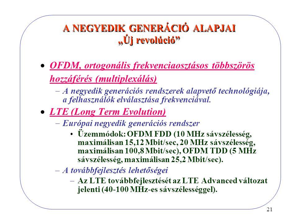 """21 A NEGYEDIK GENERÁCIÓ ALAPJAI """"Új revolúció  OFDM, ortogonális frekvenciaosztásos többszörös hozzáférés (multiplexálás)  A negyedik generációs rendszerek alapvető technológiája, a felhasználók elválasztása frekvenciával."""