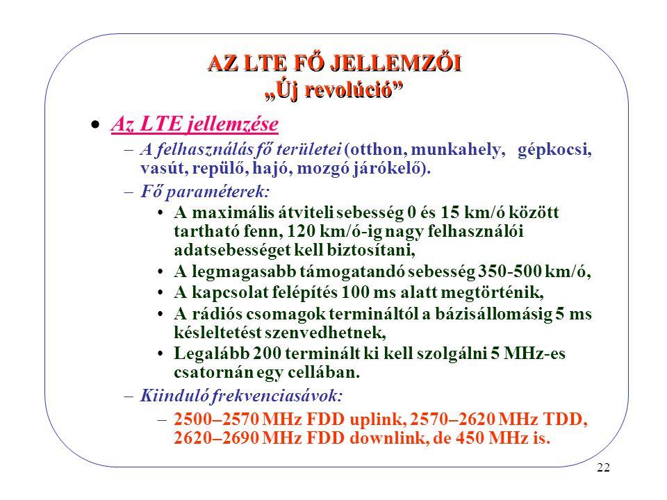 """22 AZ LTE FŐ JELLEMZŐI """"Új revolúció  Az LTE jellemzése  A felhasználás fő területei (otthon, munkahely, gépkocsi, vasút, repülő, hajó, mozgó járókelő)."""