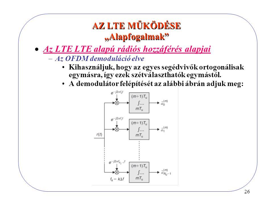 26  Az LTE LTE alapú rádiós hozzáférés alapjai  Az OFDM demoduláció elve Kihasználjuk, hogy az egyes segédvivők ortogonálisak egymásra, így ezek szétválaszthatók egymástól.