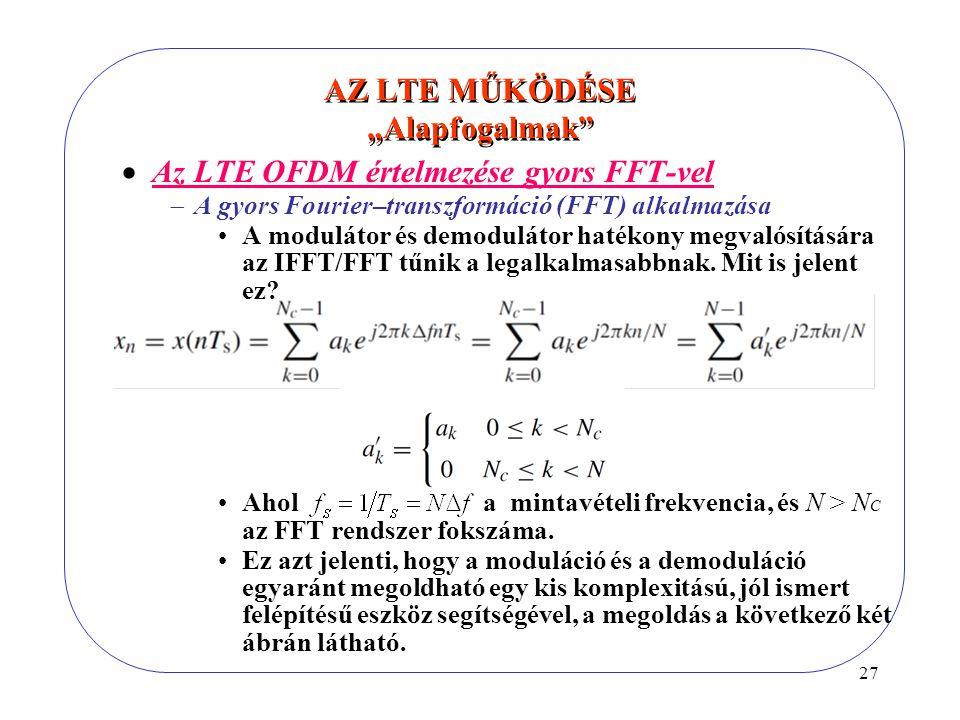 """27 AZ LTE MŰKÖDÉSE """"Alapfogalmak""""  Az LTE OFDM értelmezése gyors FFT-vel  A gyors Fourier–transzformáció (FFT) alkalmazása A modulátor és demoduláto"""