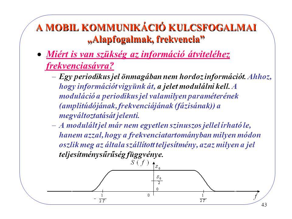 """43 A MOBIL KOMMUNIKÁCIÓ KULCSFOGALMAI """"Alapfogalmak, frekvencia  Miért is van szükség az információ átviteléhez frekvenciasávra."""