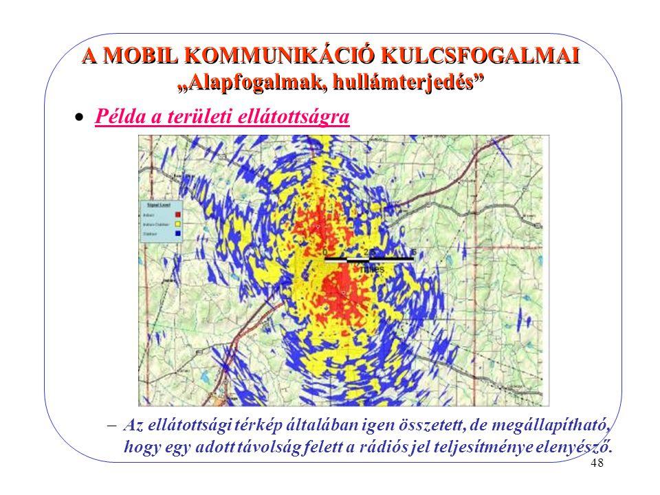 """48 A MOBIL KOMMUNIKÁCIÓ KULCSFOGALMAI """"Alapfogalmak, hullámterjedés  Példa a területi ellátottságra –Az ellátottsági térkép általában igen összetett, de megállapítható, hogy egy adott távolság felett a rádiós jel teljesítménye elenyésző."""