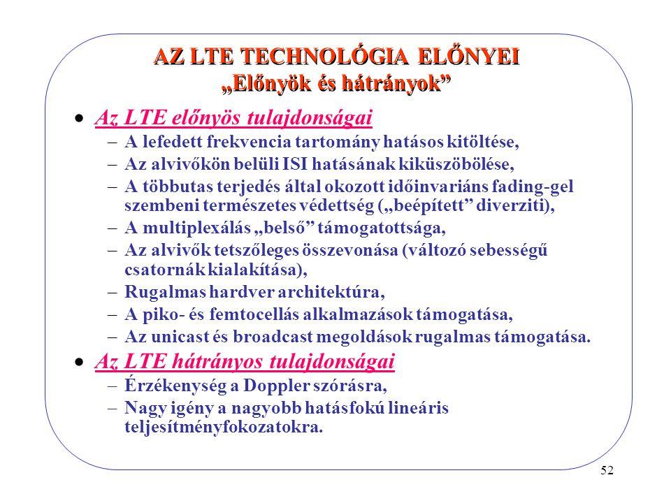 """52 AZ LTE TECHNOLÓGIA ELŐNYEI """"Előnyök és hátrányok""""  Az LTE előnyös tulajdonságai –A lefedett frekvencia tartomány hatásos kitöltése, –Az alvivőkön"""