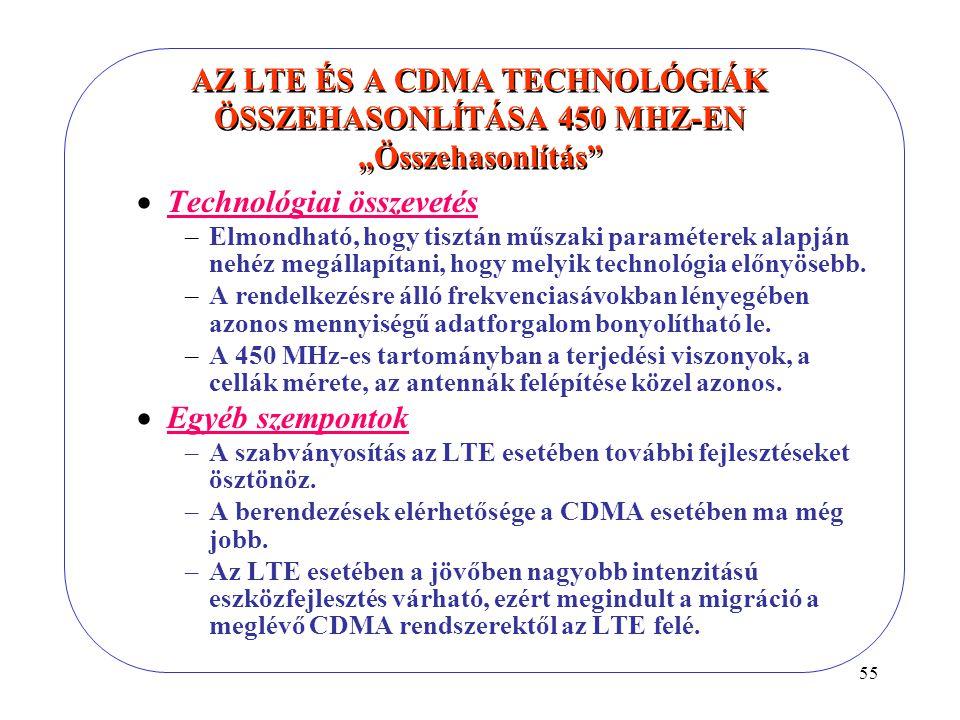 """55 AZ LTE ÉS A CDMA TECHNOLÓGIÁK ÖSSZEHASONLÍTÁSA 450 MHZ-EN """"Összehasonlítás  Technológiai összevetés –Elmondható, hogy tisztán műszaki paraméterek alapján nehéz megállapítani, hogy melyik technológia előnyösebb."""