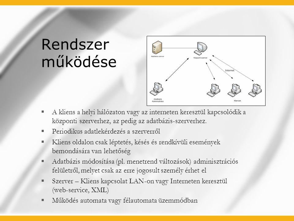 Rendszer működése  A kliens a helyi hálózaton vagy az interneten keresztül kapcsolódik a központi szerverhez, az pedig az adatbázis-szerverhez.  Per