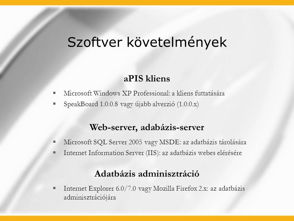 Szoftver követelmények  Microsoft Windows XP Professional: a kliens futtatására  SpeakBoard 1.0.0.8 vagy újabb alverzió (1.0.0.x)  Microsoft SQL Se