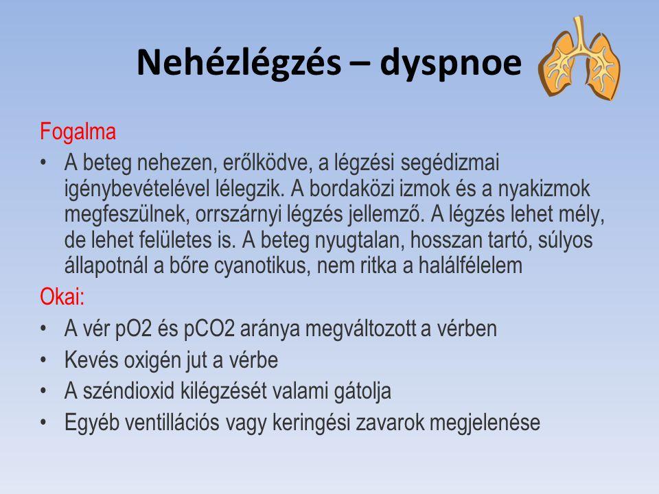 Nehézlégzés – dyspnoe Fogalma A beteg nehezen, erőlködve, a légzési segédizmai igénybevételével lélegzik. A bordaközi izmok és a nyakizmok megfeszülne